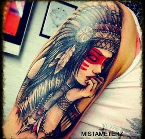 Awesome native american women tattoo on right half sleeve for Native american woman tattoo