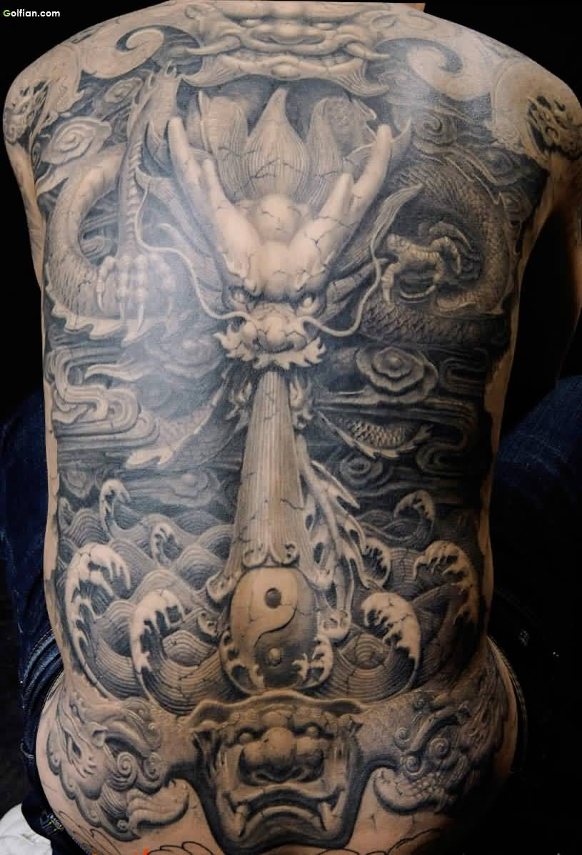 234ebddbd7643 Black And Grey 3D Asian Dragon With Yin Yang Tattoo On Man Full Back