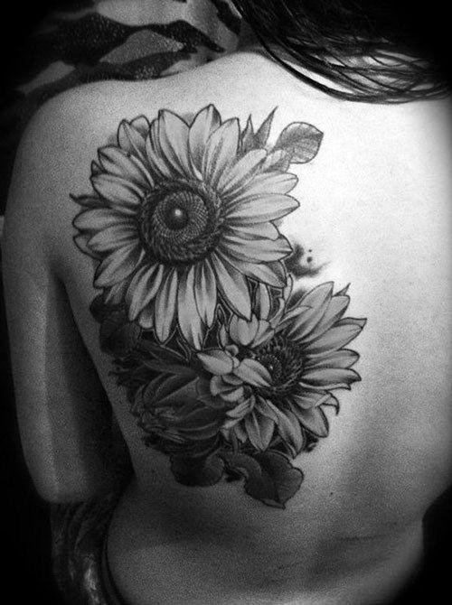 Black And Grey 3D Flowers Tattoo On Left Back Shoulder