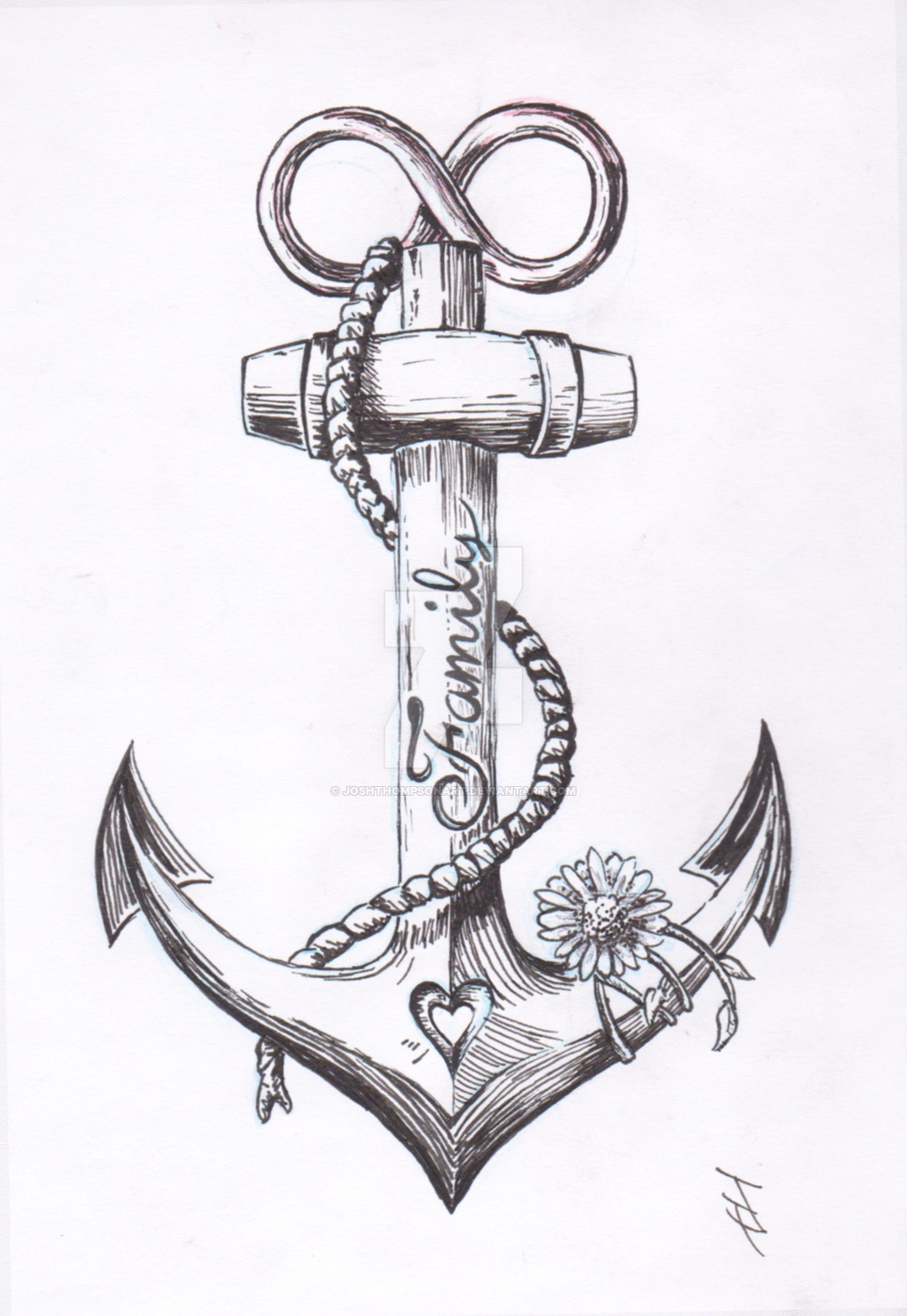 Black And Grey Anchor With Flower Tattoo Design