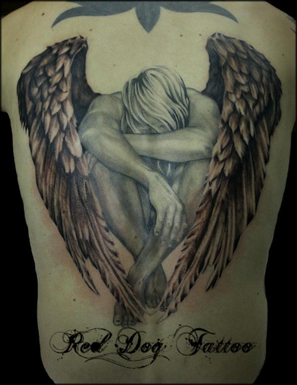 Black And Grey Angel Tattoo On Full Back