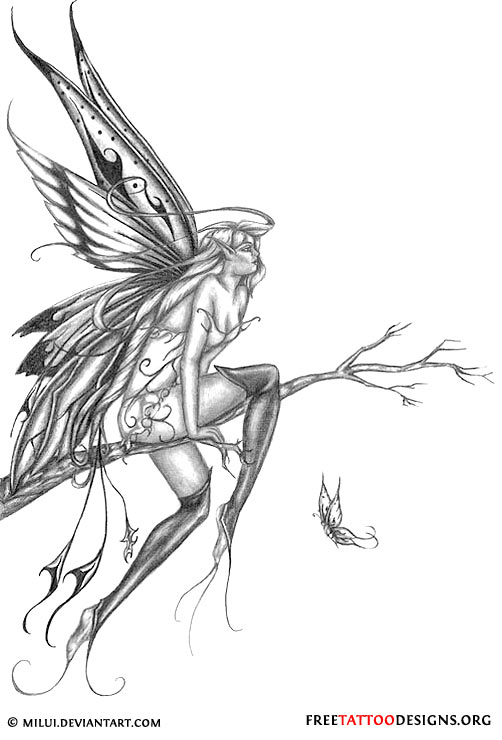 Black And Grey Fairy On Branch Tattoo Design