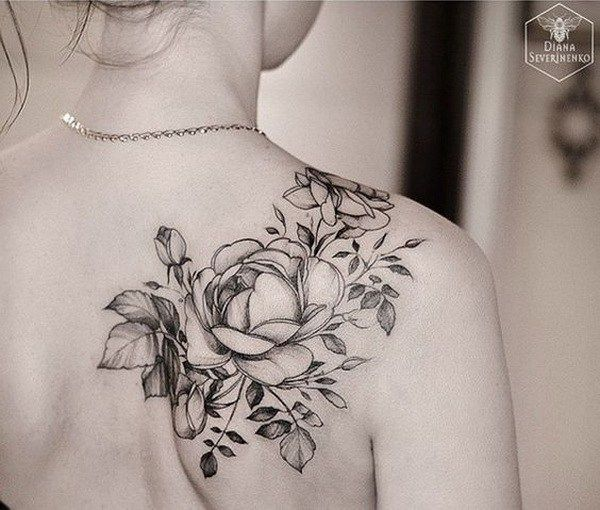 Black and grey flowers tattoo on women right back shoulder for Back shoulder tattoos for women