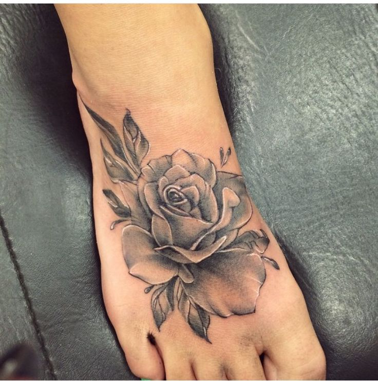 black and grey rose tattoo on right foot. Black Bedroom Furniture Sets. Home Design Ideas