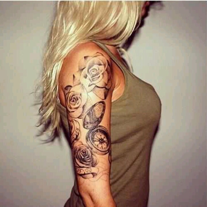 Black And Grey Roses With Compass Tattoo On Women Right Upper Arm