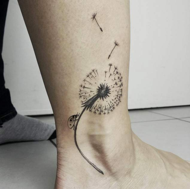 Black Dandelion Tattoo On Right Ankle