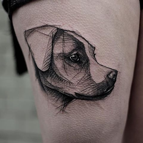 Black Ink Abstract Dog Head Tattoo On Right Thigh