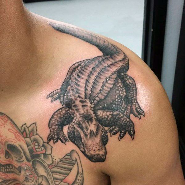 53 best alligator tattoos design and ideas for On top of shoulder tattoo