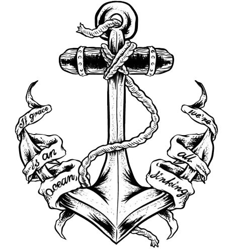 Black ink anchor with banner tattoo stencil - Anchor pictures tumblr ...