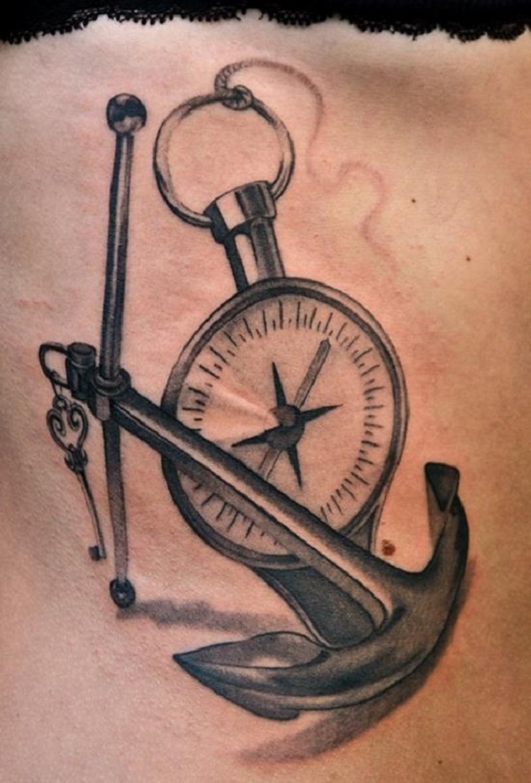 Black Ink Anchor With Compass Tattoo Design