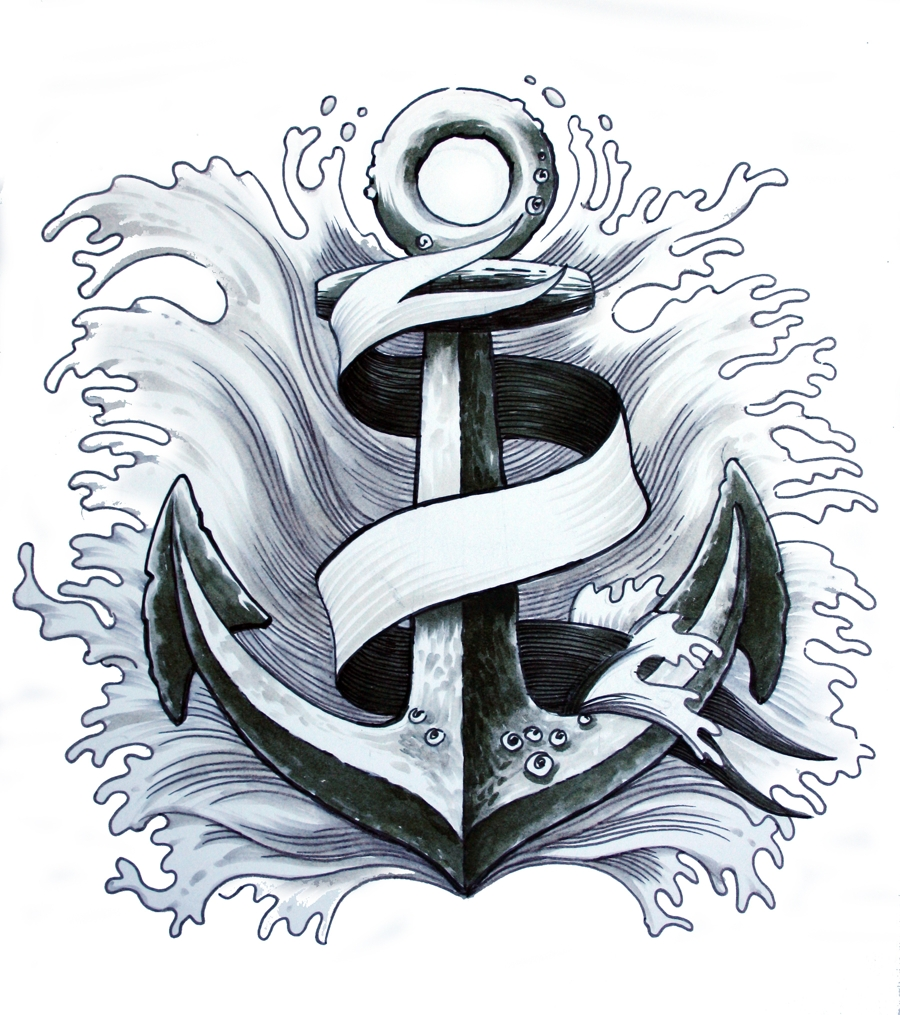 Black Ink Anchor With Ribbon Tattoo Design