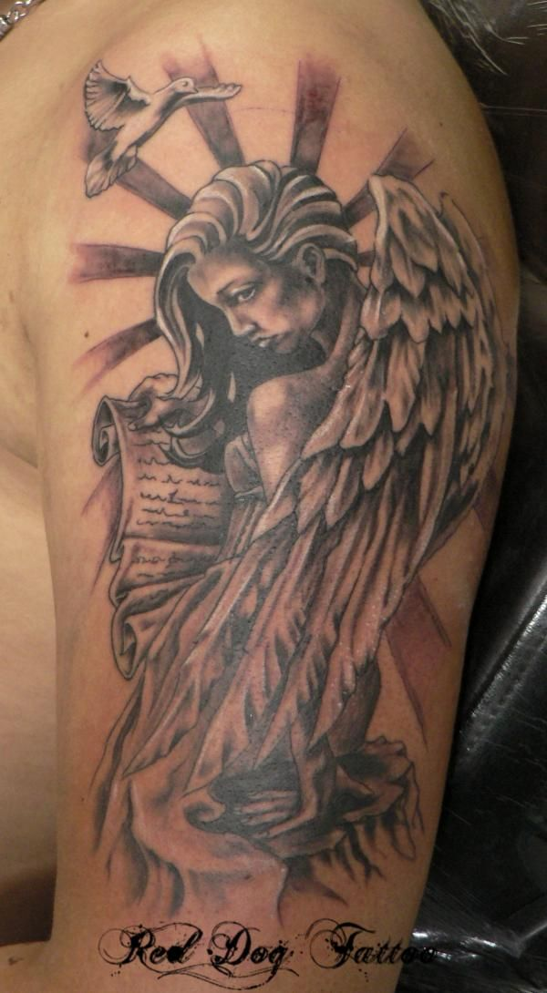 Black Ink Angel Tattoo On Left Half Sleeve
