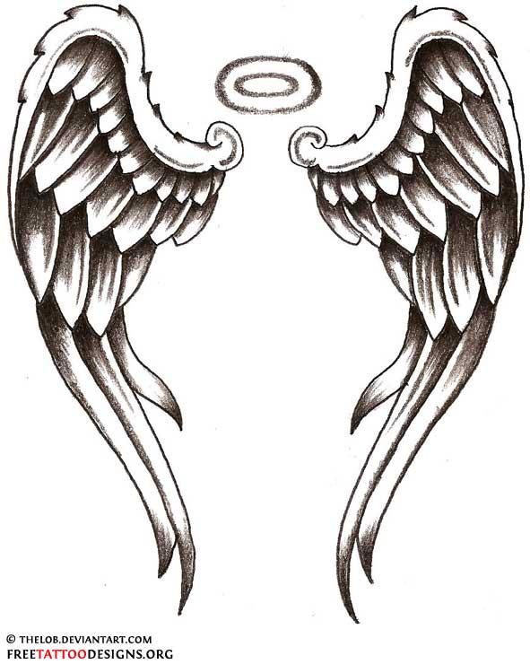black ink angel wings tattoo design rh askideas com Angel Wing Tattoos with Names angel wings with halo tattoo designs