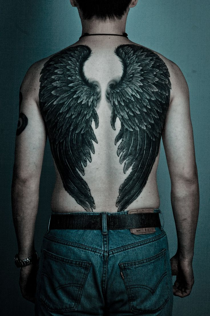 Black Ink Angel Wings Tattoo On Man Full Back