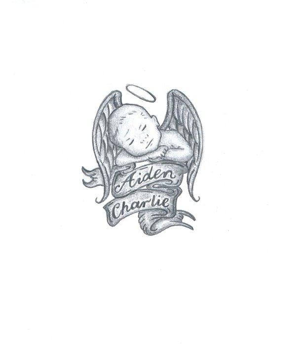 Black Ink Baby Angel With Banner Tattoo Design