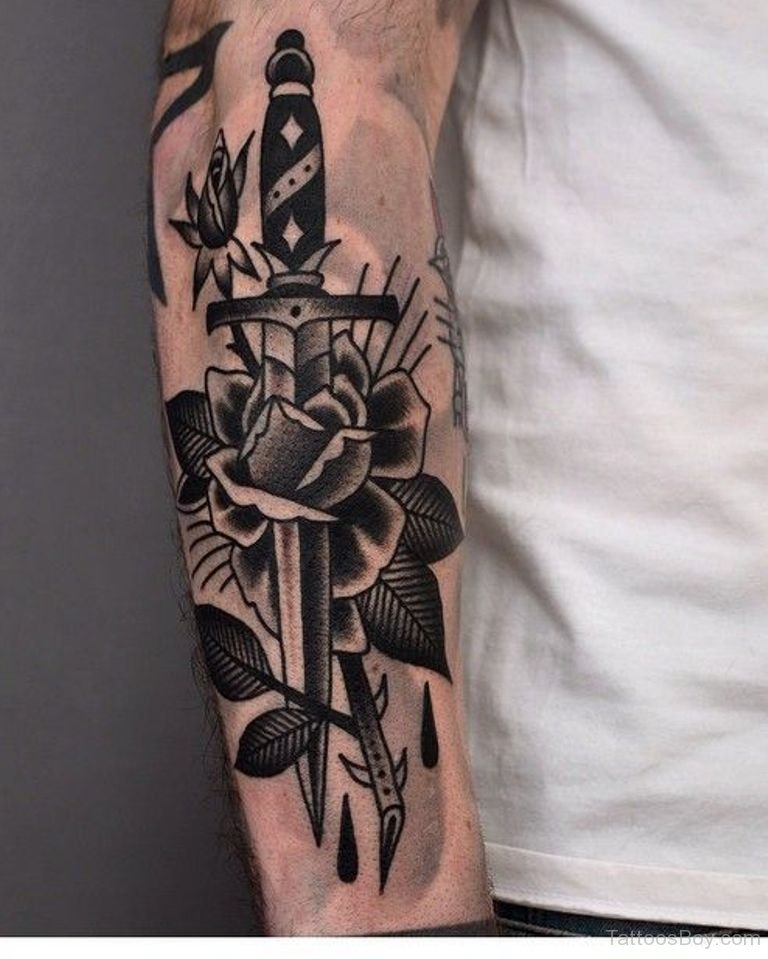 Black Ink Rose Tattoo On Girl Right Hip: 53+ Best Dagger Tattoos Design And Ideas