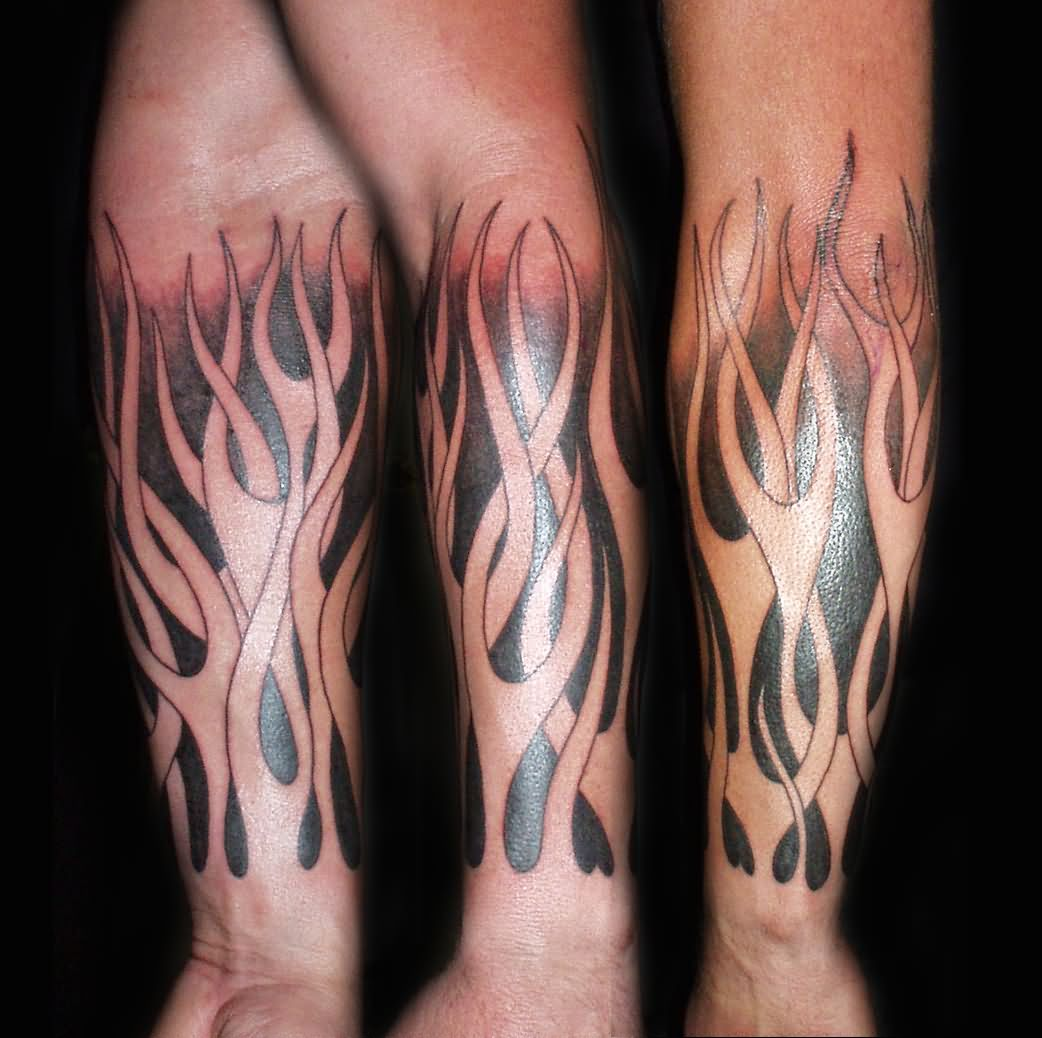 42 best fire and flame tattoos design and ideas for Black and white flame tattoo