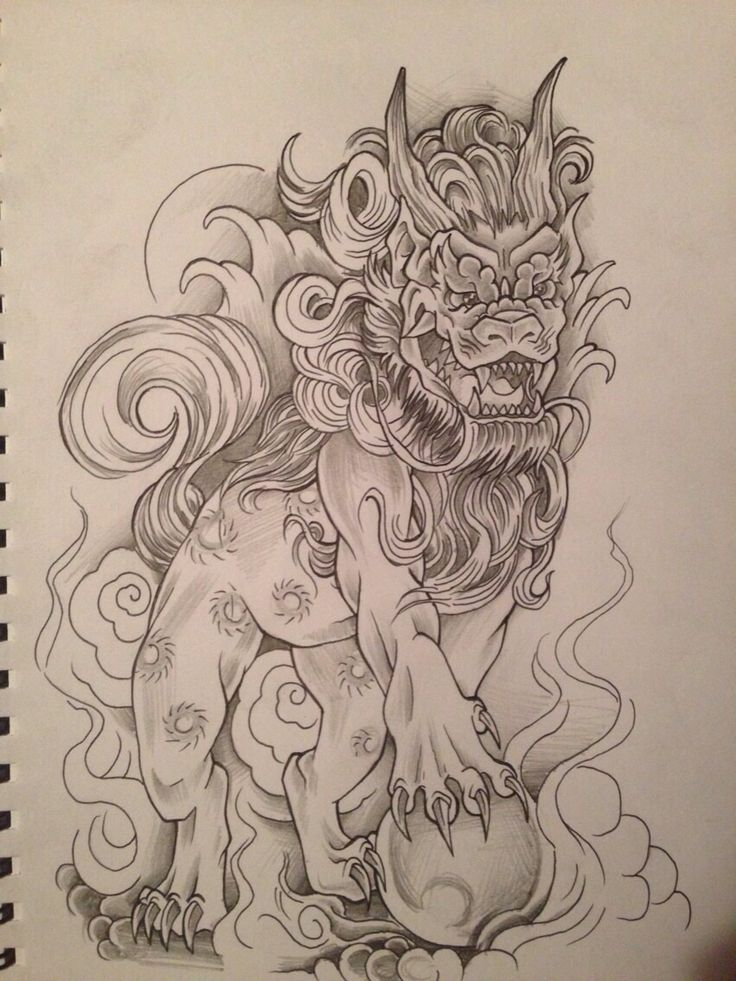 Black Ink Foo Dog Tattoo Design