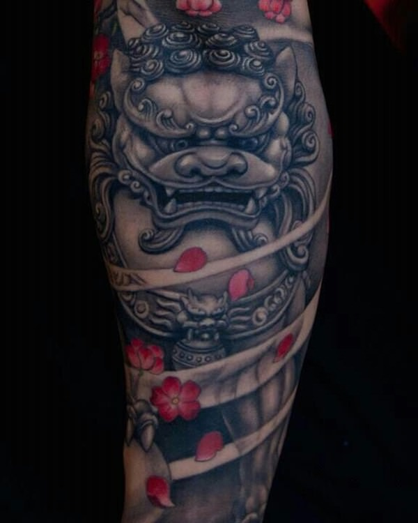 black ink foo dog with flowers tattoo on leg calf. Black Bedroom Furniture Sets. Home Design Ideas