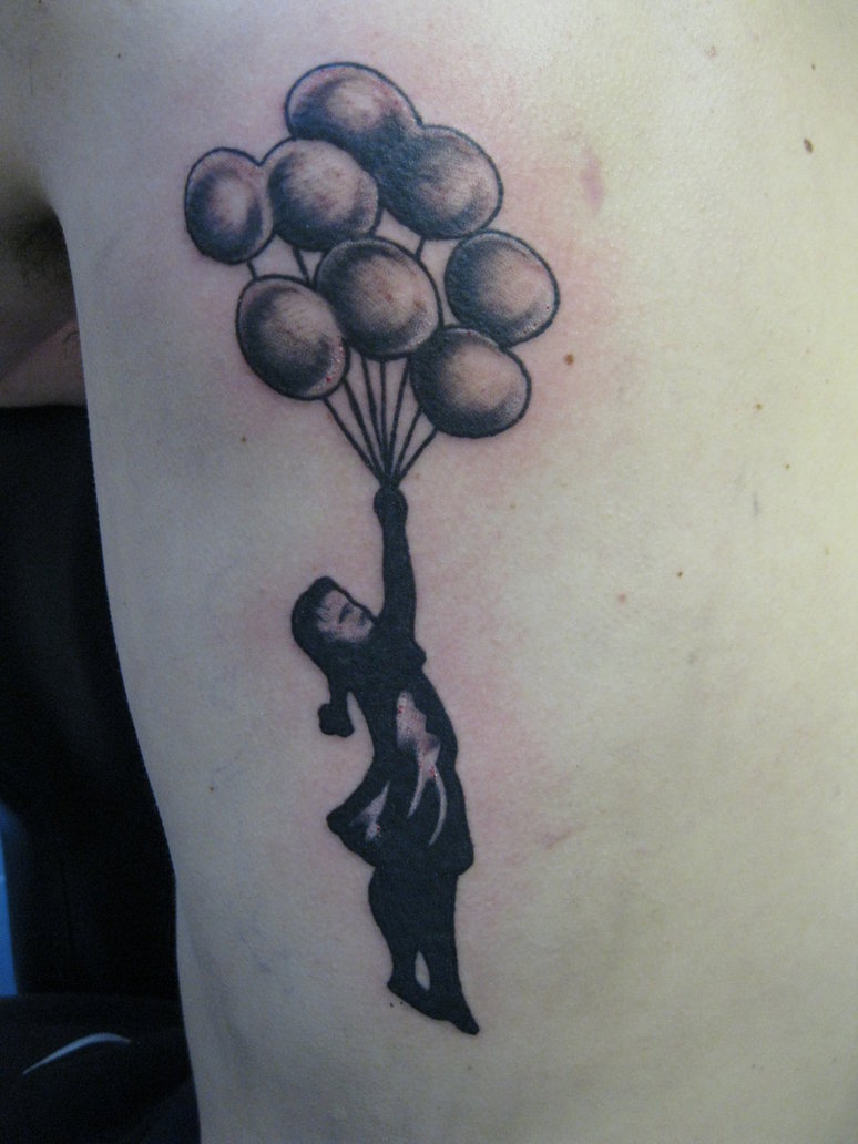 Black Ink Girl With Balloons Tattoo On Left Back Shoulder