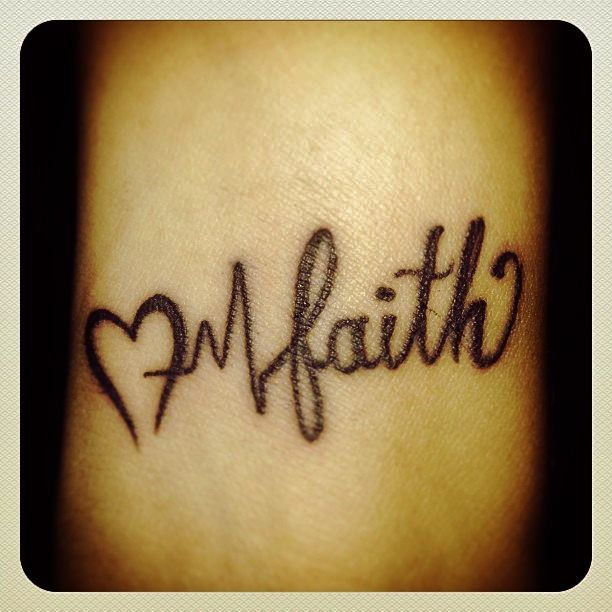 aa0b86188 Black Ink Heart With Heartbeat And Faith Lettering Tattoo Design
