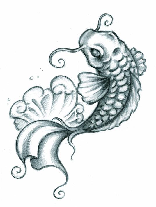 50 best fish tattoos design and ideas for Black koi fish tattoo