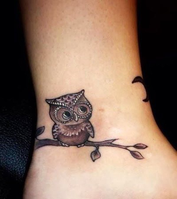 Black Ink Owl On Branch Tattoo On Ankle