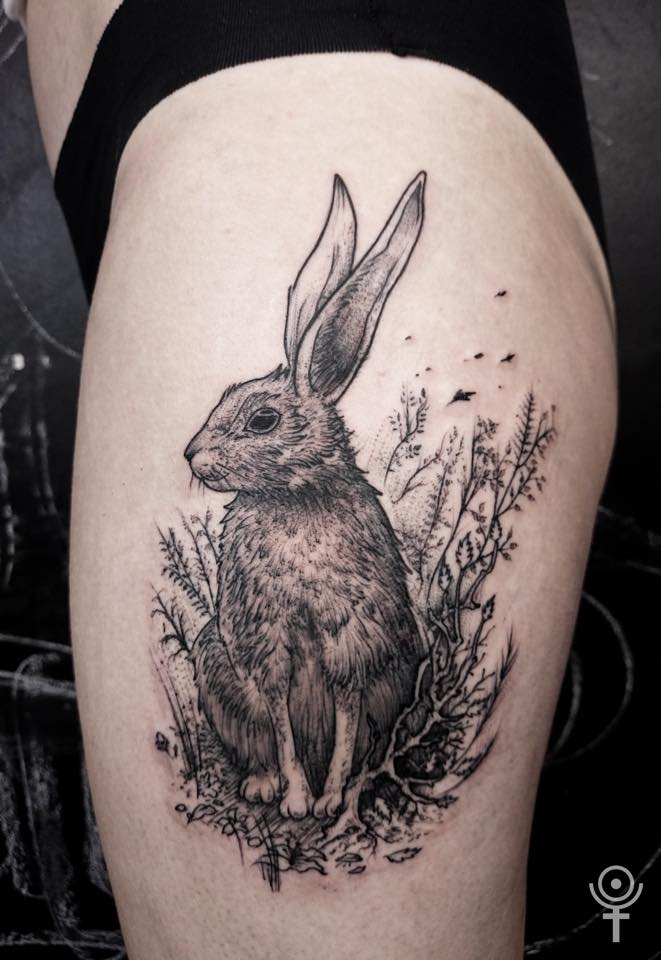black ink rabbit tattoo on left side thigh. Black Bedroom Furniture Sets. Home Design Ideas