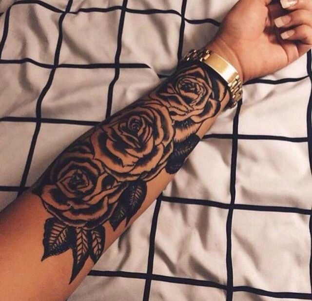 975dfd329e40c Black Ink Roses Tattoo On Left Arm