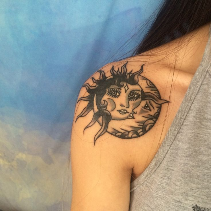 8a4602ad8 Black Ink Sun With Half Moon Tattoo On Women Left Back Shoulder