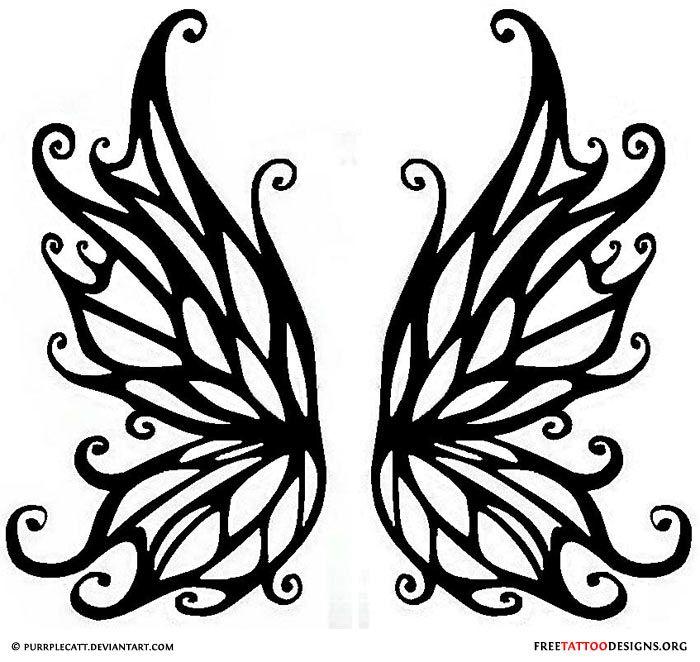 Black Tribal Butterfly Wings Tattoo Stencil