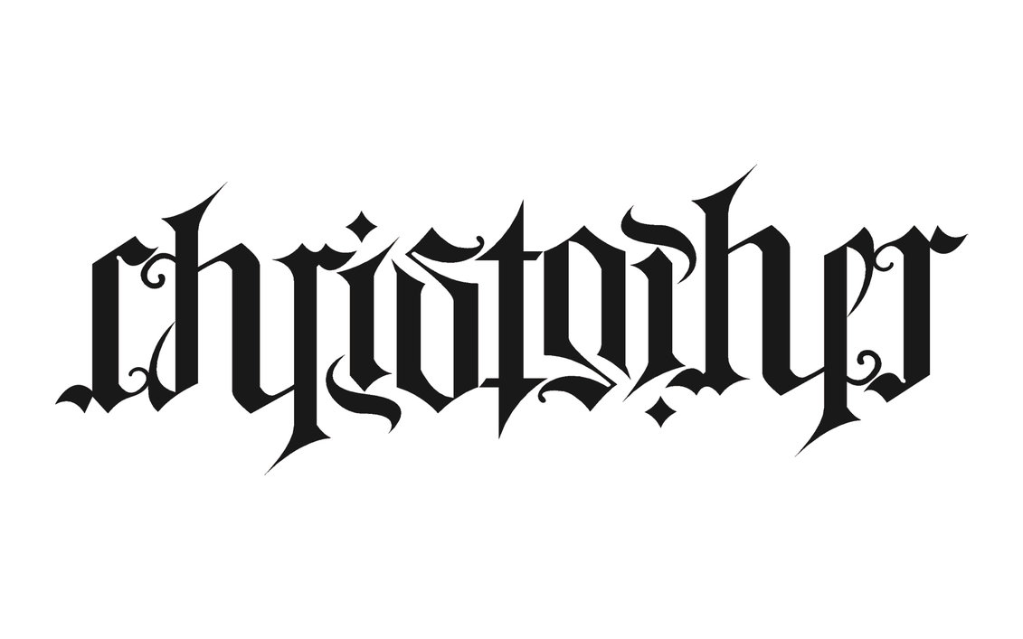 christopher ambigram tattoo stencil