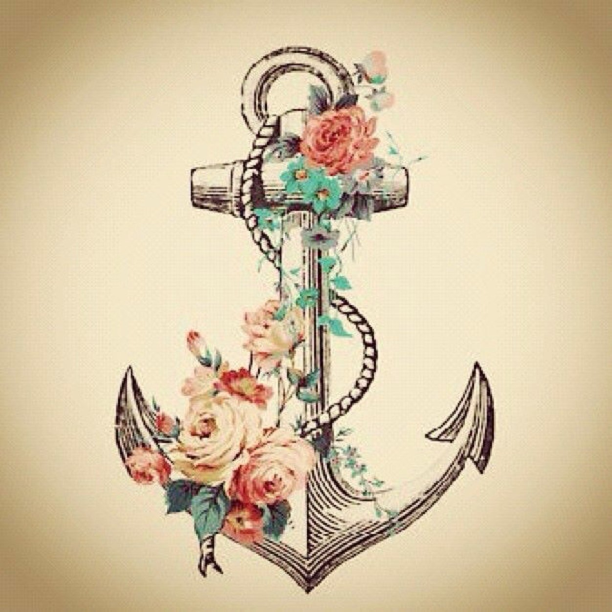 Classic Anchor With Flowers Tattoo Design