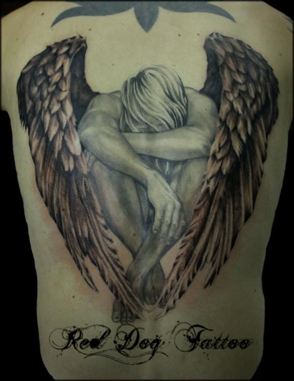 Classic Angel Tattoo On Full Back