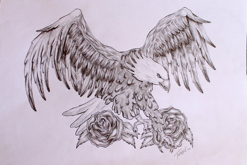 Classic Black And Grey Eagle With Roses Tattoo Design