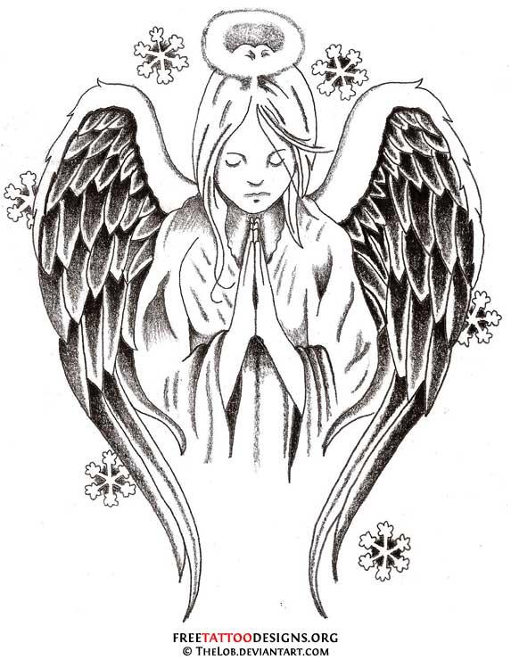 classic black ink angel tattoo design. Black Bedroom Furniture Sets. Home Design Ideas