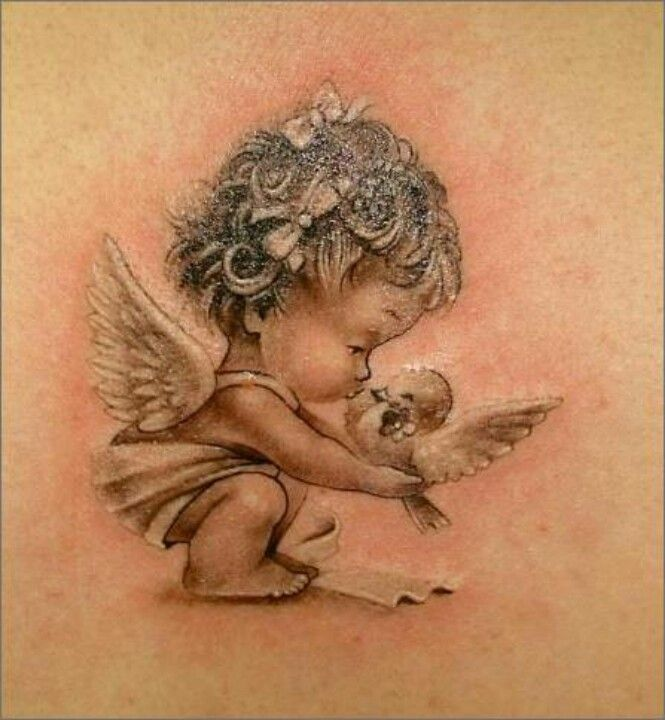 51 best baby angel tattoos design and ideas. Black Bedroom Furniture Sets. Home Design Ideas