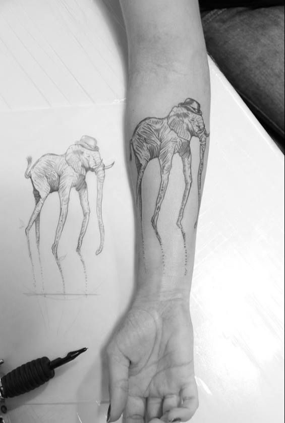 Classic Grey Ink Dali Elephant Tattoo On Right Forearm