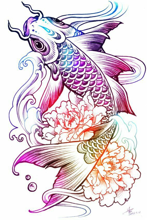Colorful Koi Fish With Flower Tattoo Design