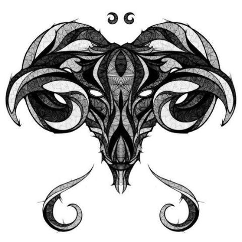cool black and grey tribal aries head tattoo design. Black Bedroom Furniture Sets. Home Design Ideas