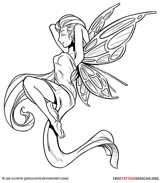 cool black outline fairy tattoo stencil. Black Bedroom Furniture Sets. Home Design Ideas