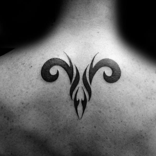 6d80fd2bf Cool Black Tribal Aries Head Tattoo On Man Upper Back