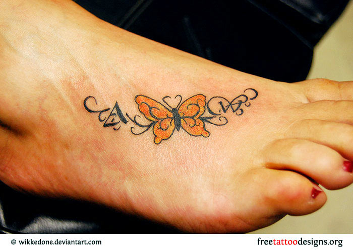 Cool Butterfly Tattoo On Right Foot
