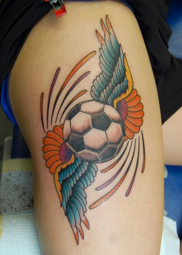 cool football with wings tattoo on half sleeve. Black Bedroom Furniture Sets. Home Design Ideas