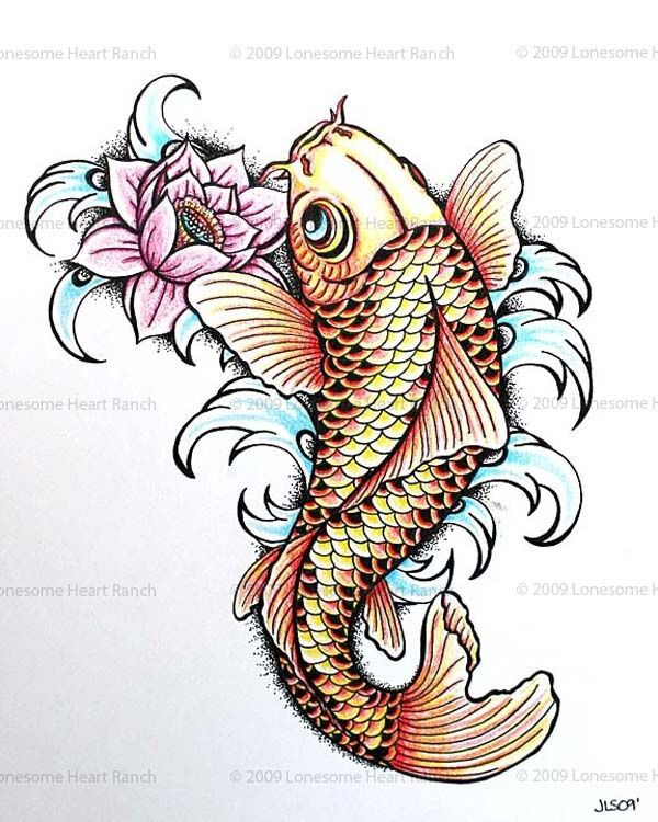 Cool Koi Fish With Lotus Flower Tattoo Design
