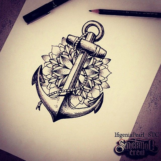 300cb0830 Dotwork Anchor With Flower Tattoo Design