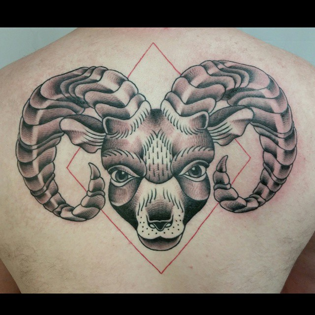 Awesome Aries Tattoo Designs: Dotwork Aries Head Tattoo On Man Upper Back