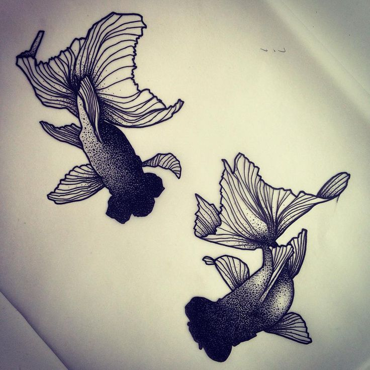 Dotwork black ink two fishes tattoo design for Coy poisson