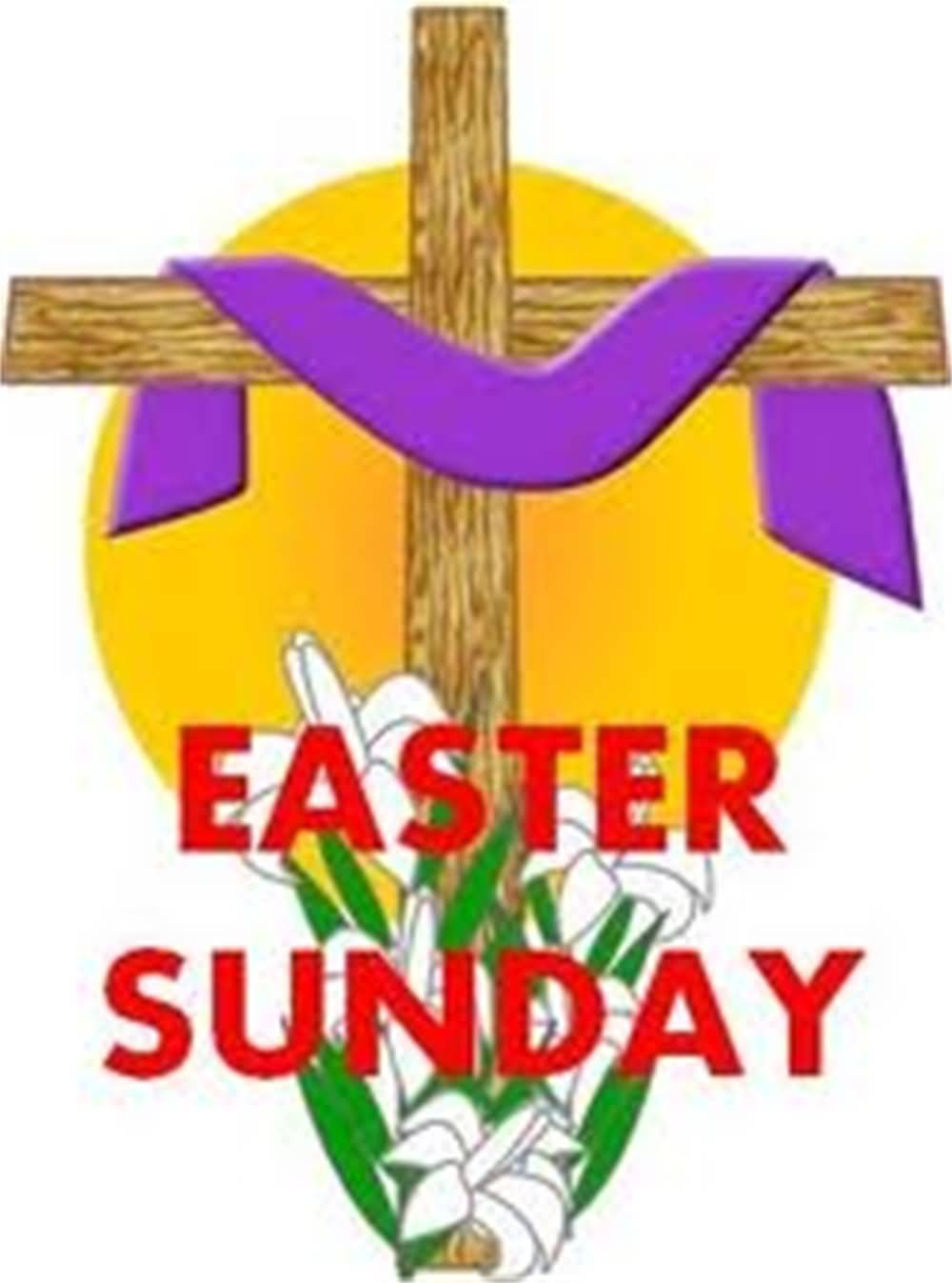Easter Sunday Cross With Purple Cloth
