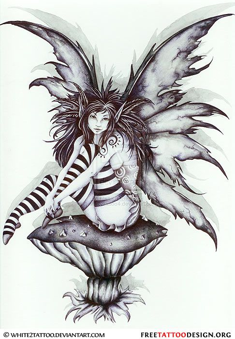 evil fairy on mushroom tattoo design. Black Bedroom Furniture Sets. Home Design Ideas